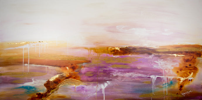 soft pastel abstract landscape painting with gold foil