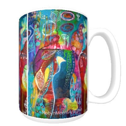 15oz ceramic art mug. Vibrant abstract birds.