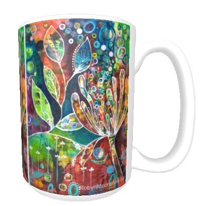 15oz ceramic art mug. Vibrant abstract flower painting.