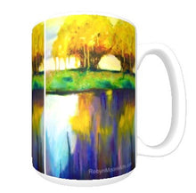 15oz ceramic art mug. abstract tree on lake painting