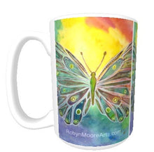 15oz ceramic art mug vibrant rainbow butterfly