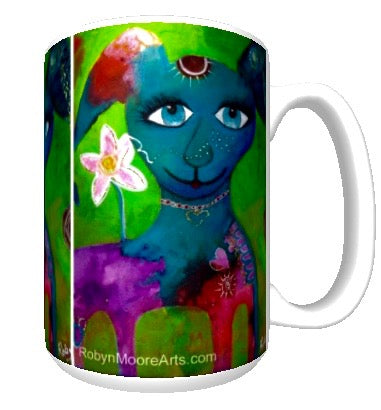 15oz ceramic art mug colorful whimsical dog