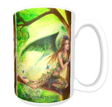15oz ceramic art mug whimsical tree fern fairy