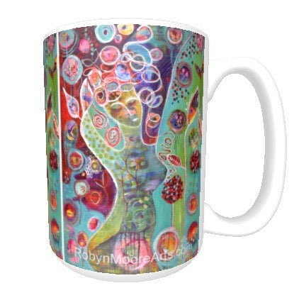 15oz ceramic art mug abstract vibrant colorful wild curly hair woman