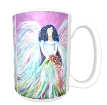 15oz ceramic art mug. soft pastel bridal angel