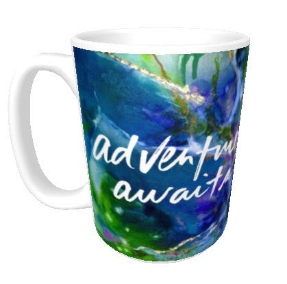 15oz art ceramic coffee mug Good Vibes adventure awaits
