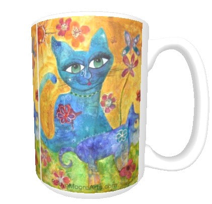 15oz art ceramic coffee mug whimsical cat and dog in garden