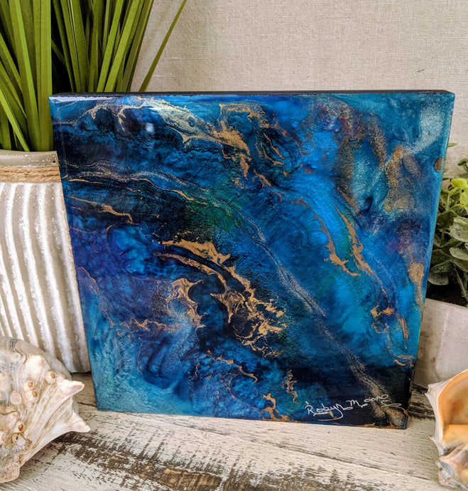 abstract blue teal resin art with gold