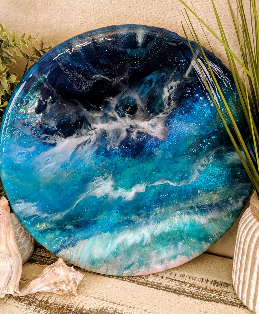 Abstract ocean Resin Lazy Susan blue teal white