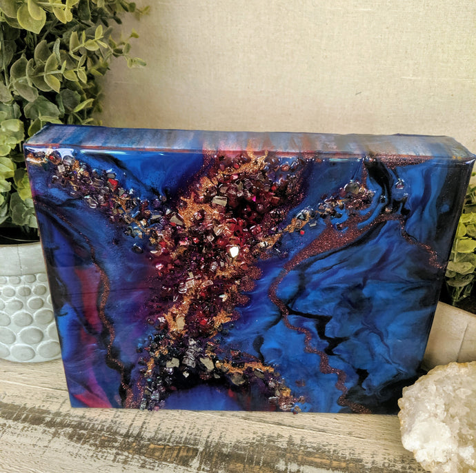 abstract blue purple and pink resin art with fireglass
