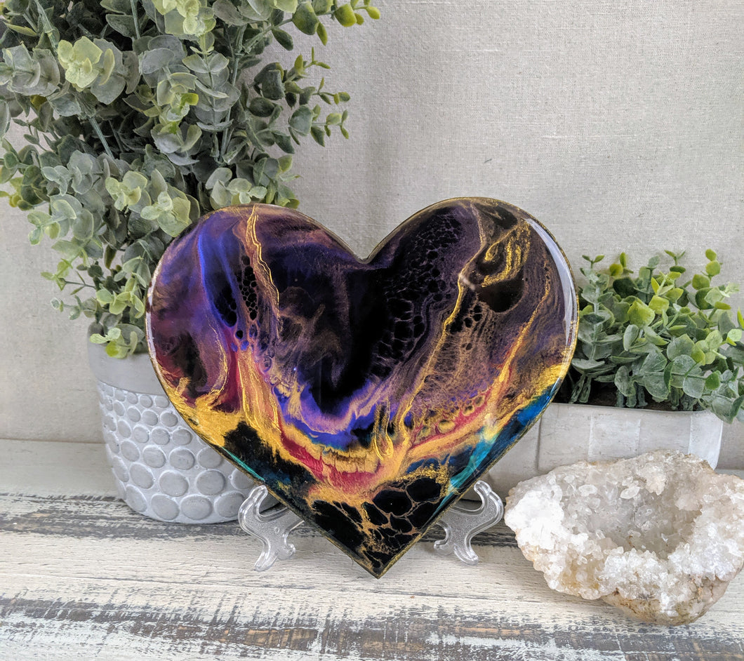 abstract black purple gold resin heart