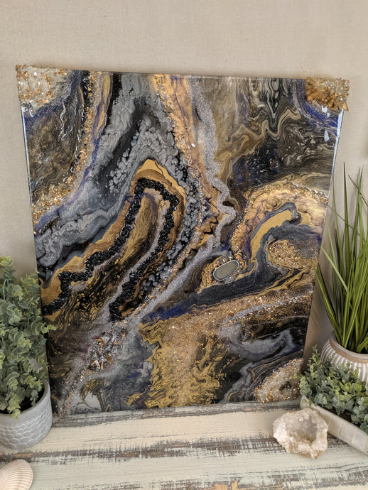 abstract resin art in black brown bronze and white to look like a agate