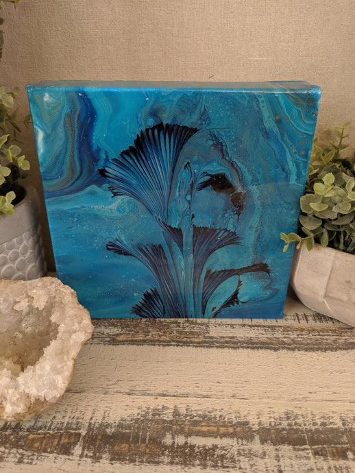 abstract blue teal flower resin art