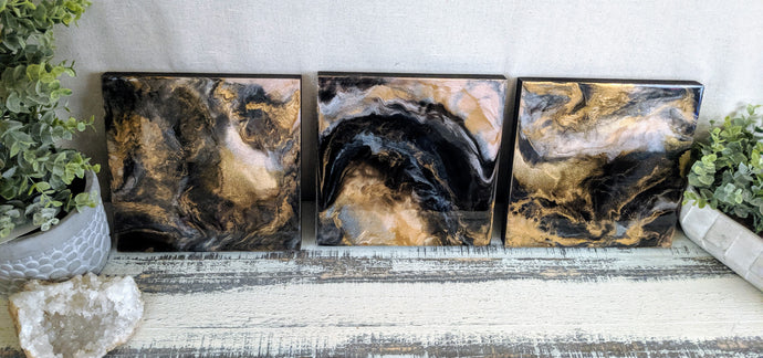 abstract resin art in black brown bronze and white