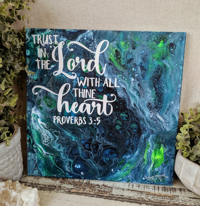 blue green fluid art with scripture