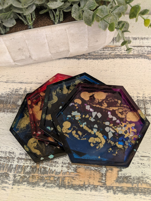 Coasters #14 - Octagon Epoxy set of 4