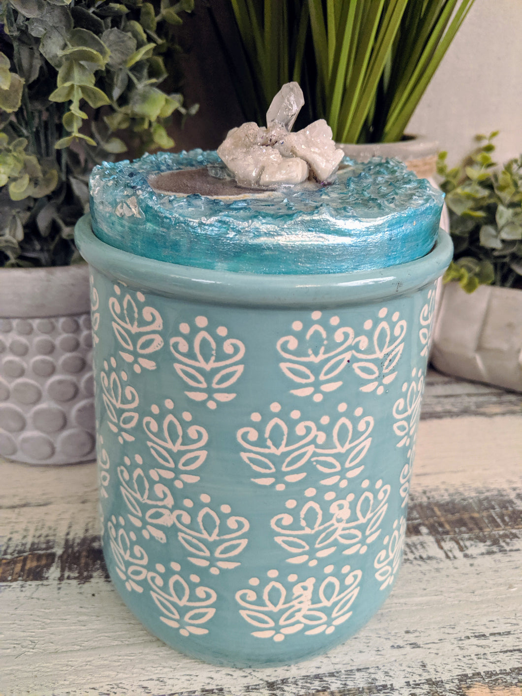 teal and white designer canister with teal resin top fire glass and crystals