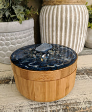 Wood and resin salt pepper container with resin top fire glass stone