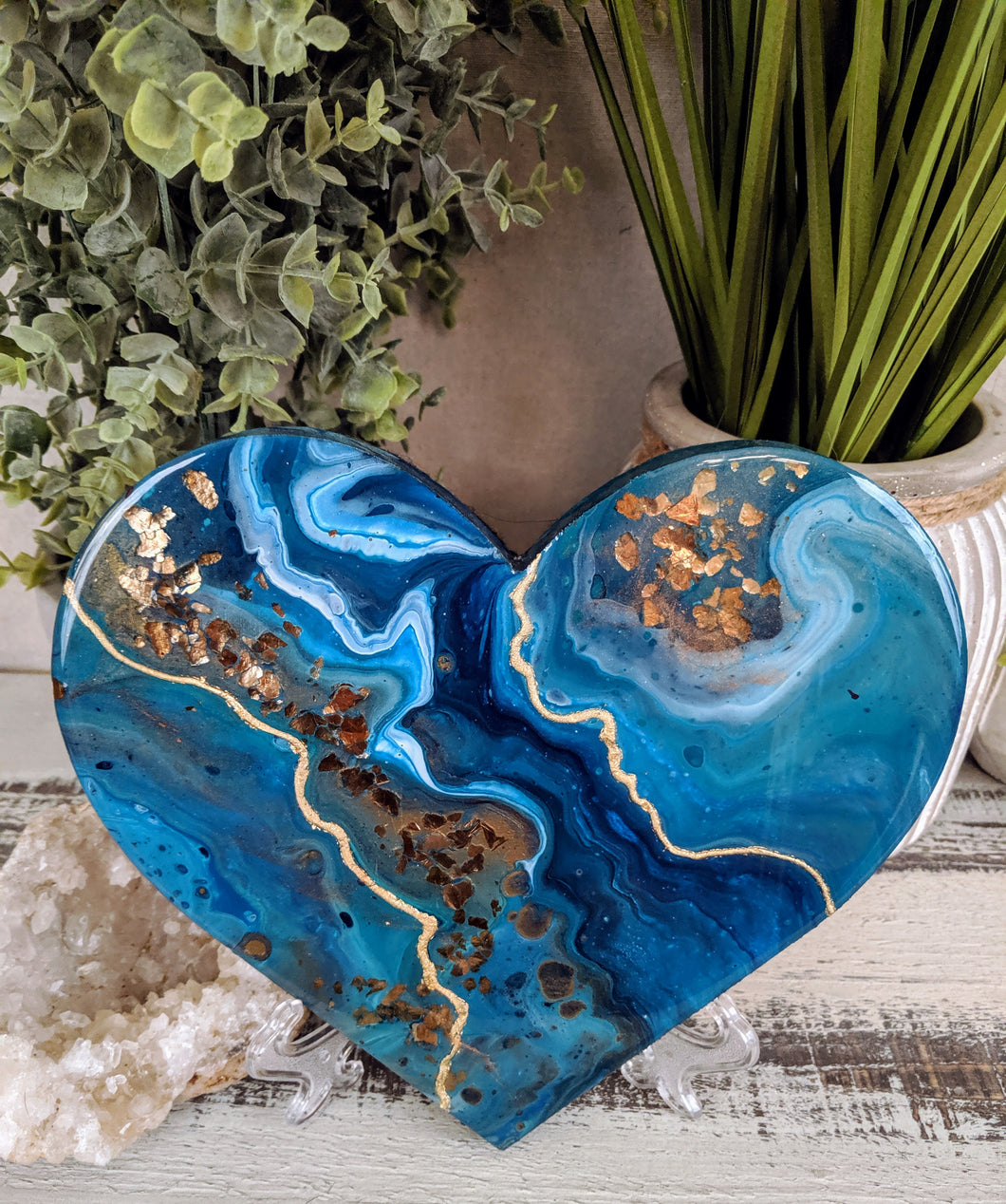 abstract blue teal bronze heart