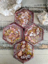 abstract octagon pink glitter resin coasters set of 4