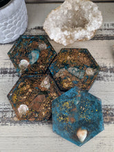 green teal bronze octagon resin coaster set of 4