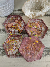 pink glitter abstract octagon resin coasters set of 4