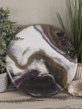 Abstract Resin Lazy Susan purple white bronze with crystals and fire glass