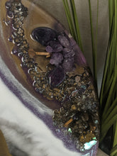 close up Abstract Resin Lazy Susan purple white bronze with crystals and fire glass