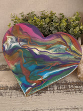 Abstract resin heart with blue green pink purple and copper