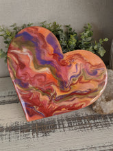 wood heart with abstract orange red gold purple fluid resin