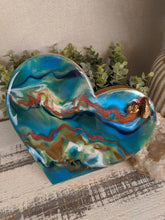 abstract wood heart with blue green teal copper resin and copper stones