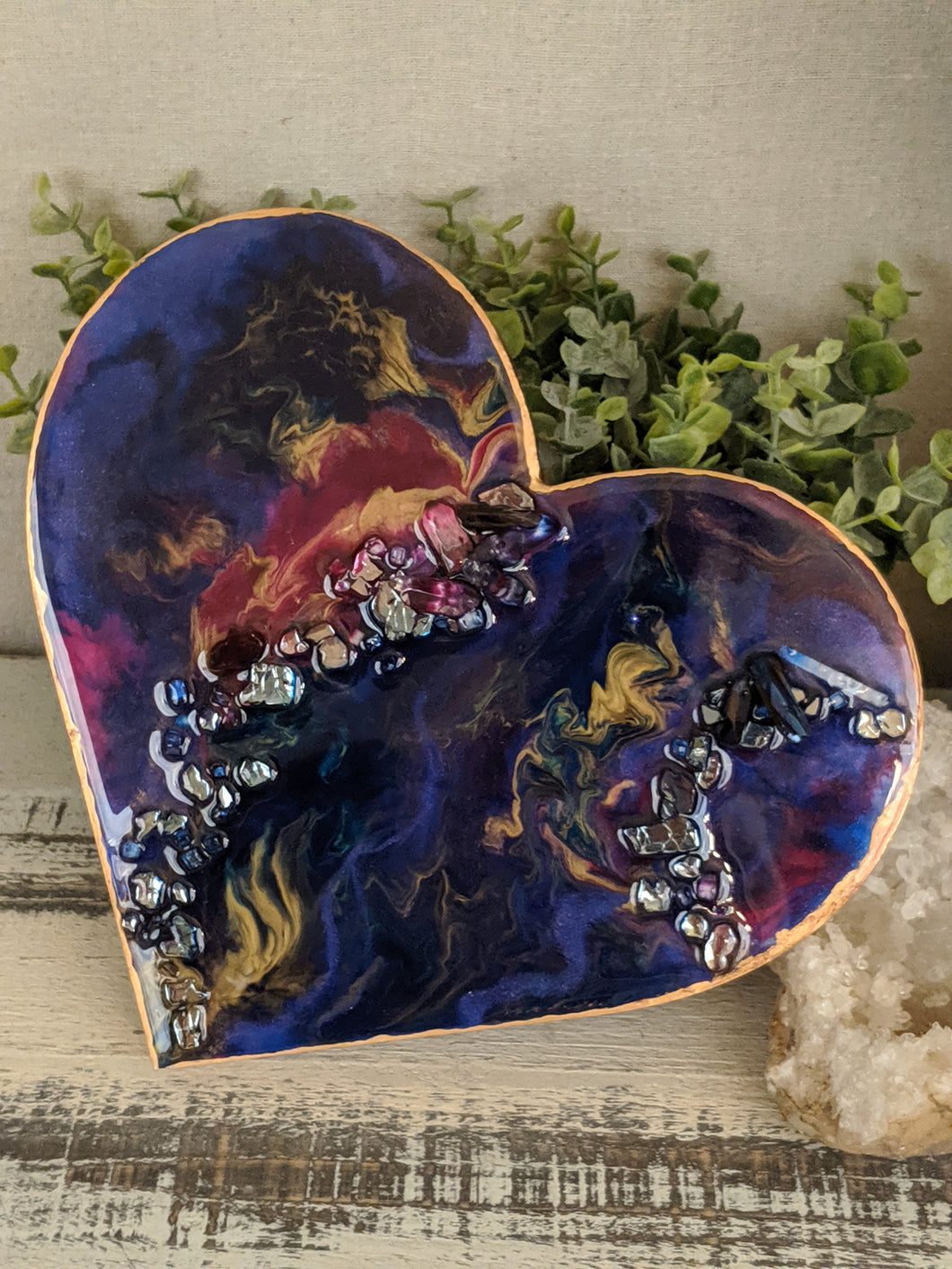 abstract fluid resin heart in purple pink dark teal and gold with crystals