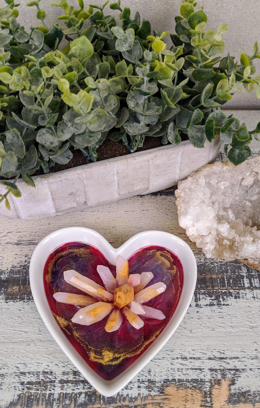 white ceramic heart trinket dish with pink and gold resin and crystal cluster