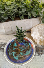 pink and gold trinket dish with cactus and colored resin lavender teal green
