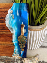 wood cheese board with ocean scene and handles