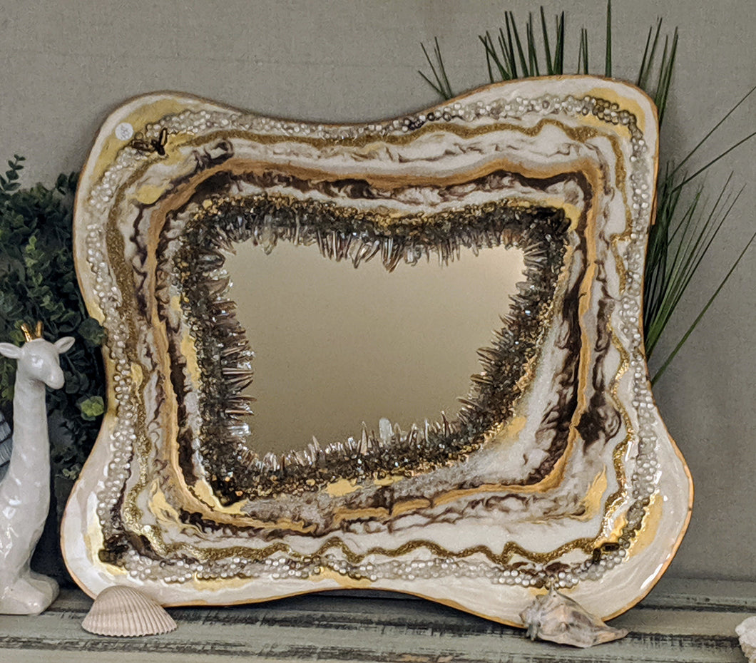 gold and white resin geode inspired painting