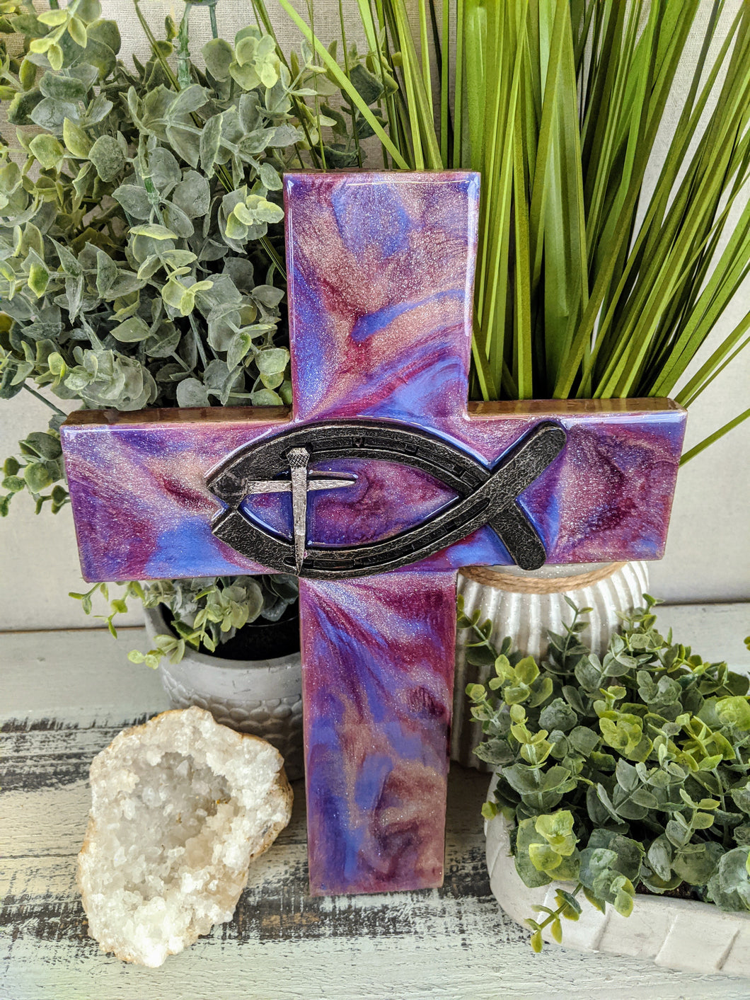 Cross - Wood with resin - Sold