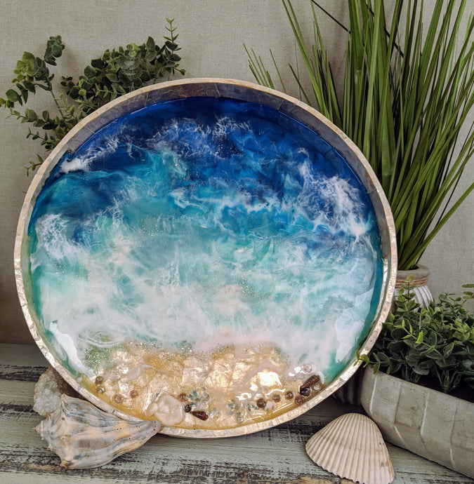 abstract shell ocean resin tray with shells