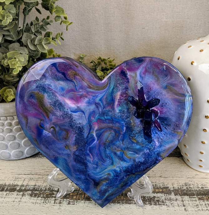 abstract fluid resin heart blue purple pink gold with crystal cluster
