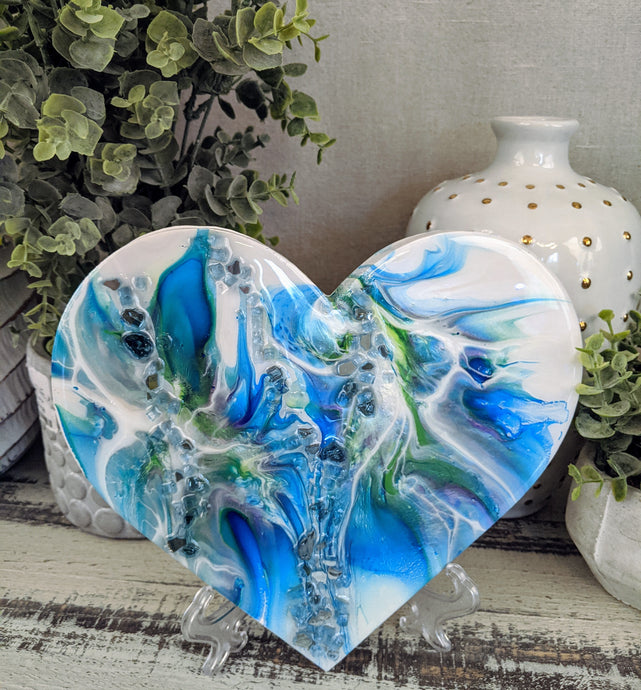 abstract blue green white resin heart with fire glass