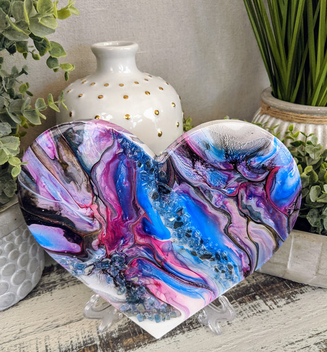 abstract fluid heart blue pink lavender and black resin fire glass