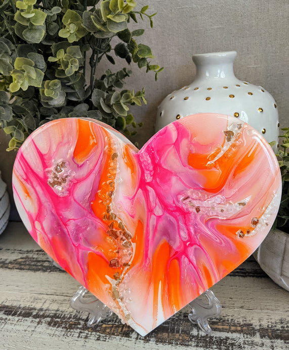abstract fluid heart orange pink white resin and fire glass
