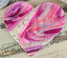 abstract resin heart pink lavender fire glass