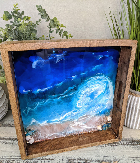 ocean looking wood tray resin blue teal white shells
