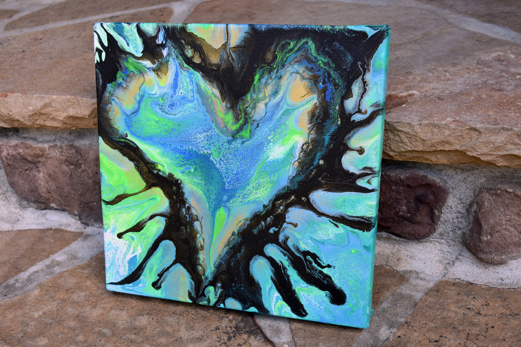 abstract blue green black splashy heart