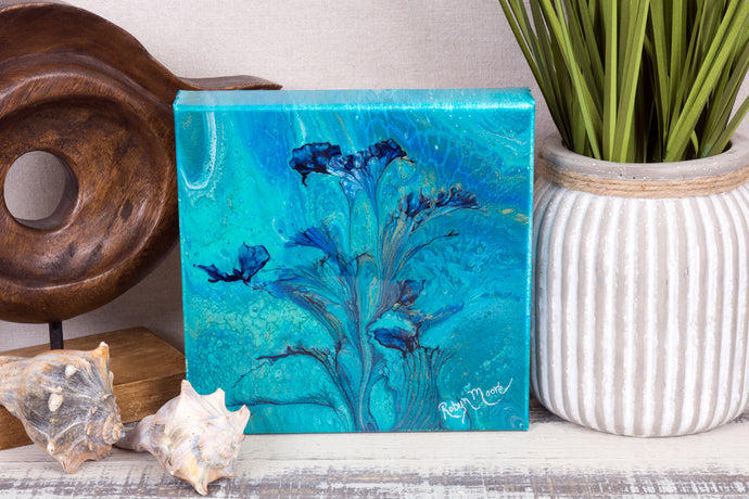 abstract fluid acrylic painting with vibrant blue green colors and flower