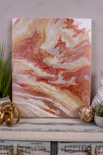 abstract fluid acrylic painting with texture in copper cream rust and brown colors