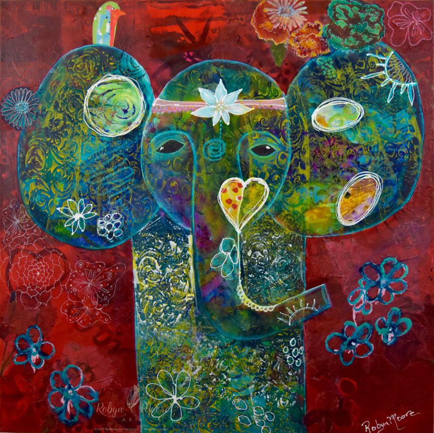 organic elephant painting flowers lotus head piece