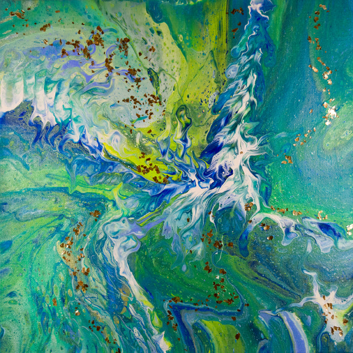 organic swirls of blue, teal, green, lavender and white accented with silver flake