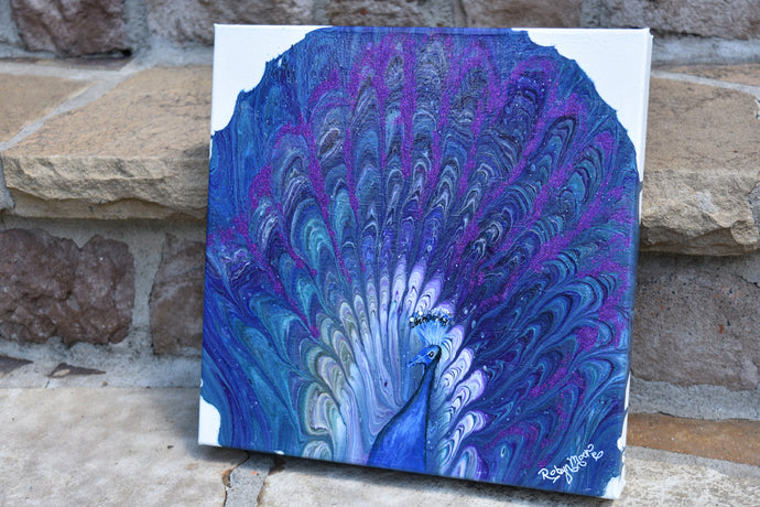 abstract fluid whimsical peacock in blues teal and purple